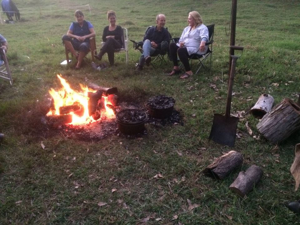 "Campout at Nulla Nulla - enjoying a yarn by the campfire whilst waiting for the camp-ovens to be opened by our famous ""Meal-Deal"" chef Robyn."