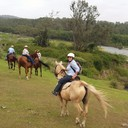Vero (day rider) and Melissa in front of Macleay River at Yessabah