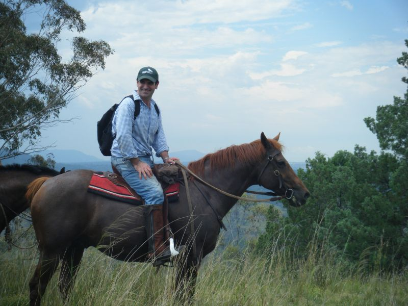 Ian and his trusty steed enjoy a break at the top of the hill.
