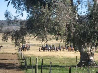 Tinderry Trail Horse Riders heading out from Cooinbill Hut