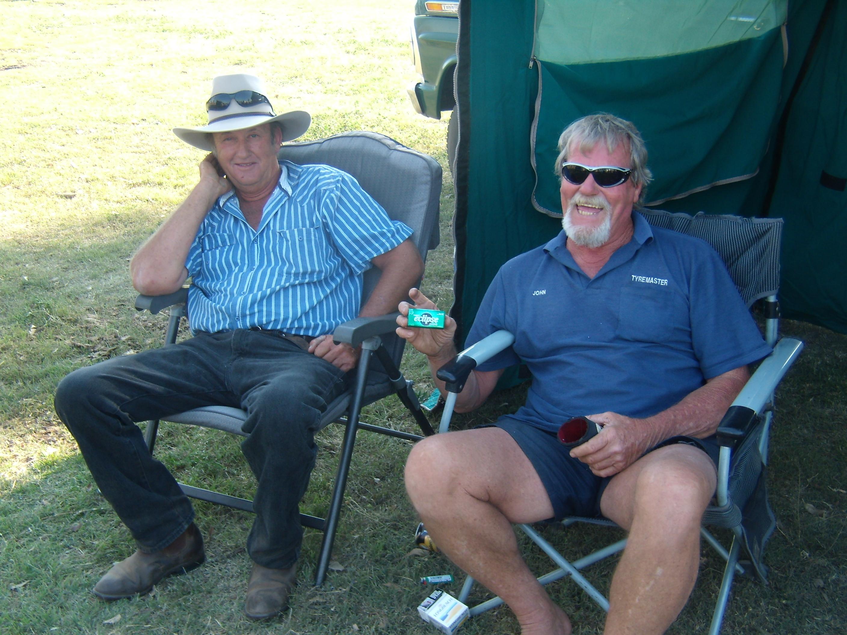 Geoff Dean and John Tully enjoying an afternoon of relaxation