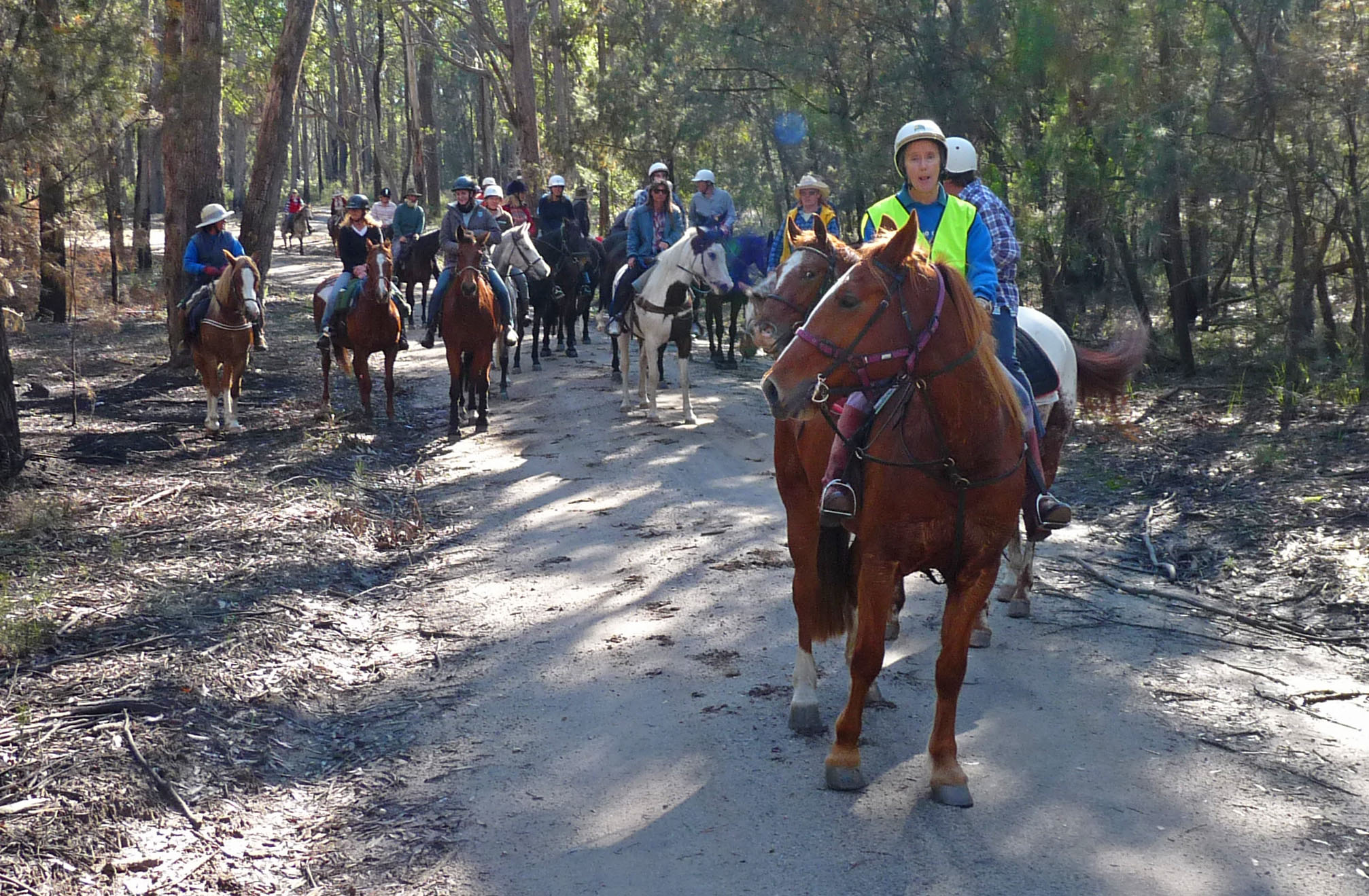 Jackie Whiting has been a member of Tambo for many years. She led the Anniversary ride from her and her husband Mark's property at Cunningham's Rd