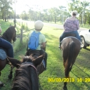 Beth, Lakum, Kellie heading out for Trail Ride- Slow Paced